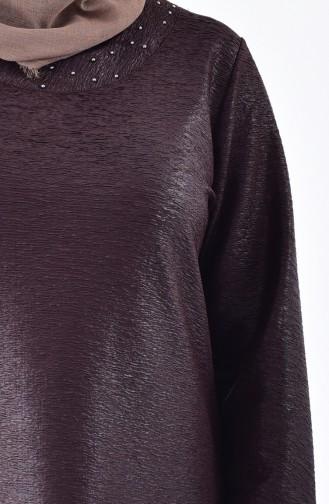 Plus Size Asymmetric Tunic 2193-01 Brown 2193-01