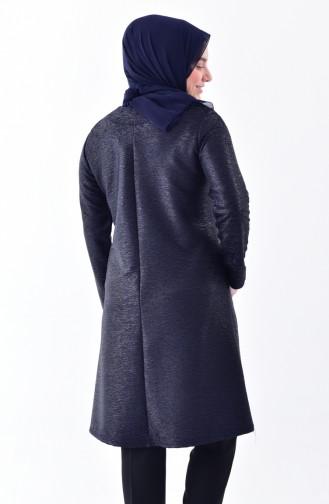 Plus Size Asymmetric Tunic 2193-03 Navy Blue 2193-03