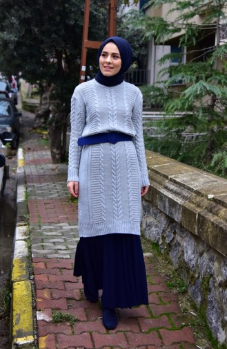Knitwear Knit Pattern Tunic 8084-03 Gray 8084-03