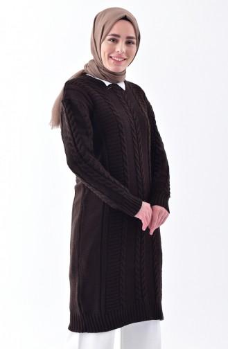 Knitwear Knit Pattern Tunic8084-04 Brown 8084-04