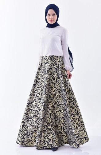 Printed Flared Skirt 7228-01 Navy 7228-01