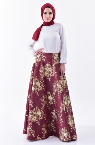Patterned Flared Skirt 7229-01 Claret Red 7229-01