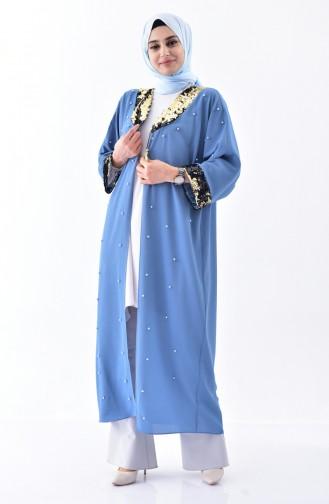 Sequined Pearls Cardigan 1142-03 İndigo 1142-03