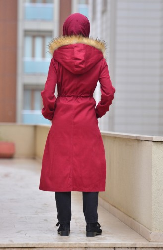 Fur Hooded Coat 4022-01 Claret Red 4022-01