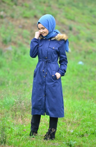 Fur Hooded Coat 4022-06 Navy Blue 4022-06