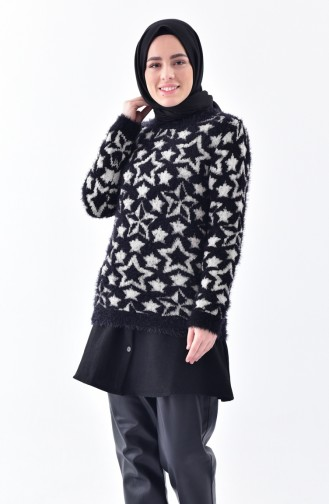 iLMEK Patterned Knitwear Sweater 3292-01 Black 3292-01
