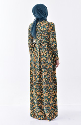 دلبر فستان بتصميم مُطبع 7127-02 لون اخضر زُمردي 7127-02