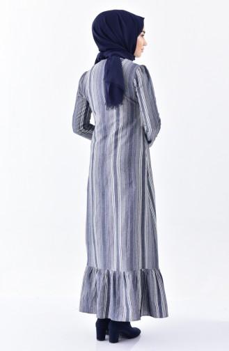 فستان بتصميم مُخطط مُزين بالكشكش 7231-02 لون رمادي 7231-02