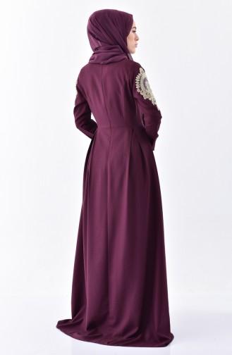 Robe Plissée avec Collier 81638-03 Bordeaux 81638-03