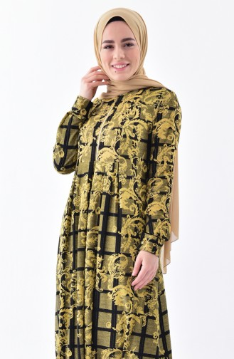 دلبر فستان بتصميم مُطبع 7134-01 لون اصفر داكن 7134-01