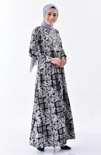 Dilber Patterned Dress 7134-02 Gray 7134-02