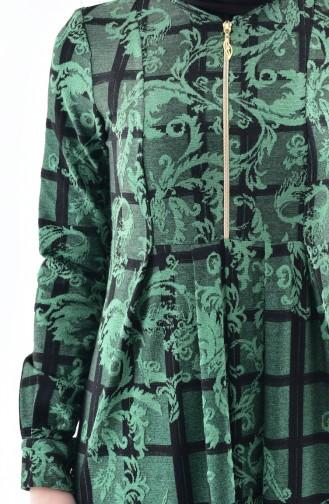 دلبر فستان بتصميم مُطبع 7134-03 لون اخضر زُمردي 7134-03