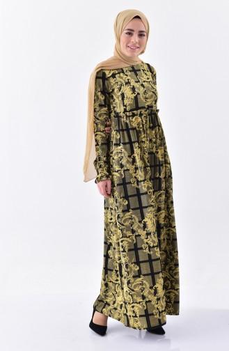 Desenli Büzgülü Elbise 7135-01 Hardal 7135-01