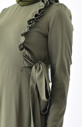 Frilled Detail Dress 0205-07 Khaki 0205-07