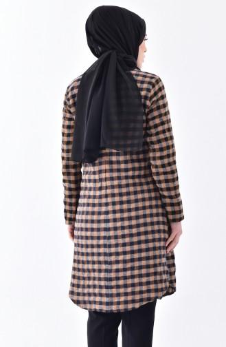 Checkered Tunic 1059-03 Brown 1059-03