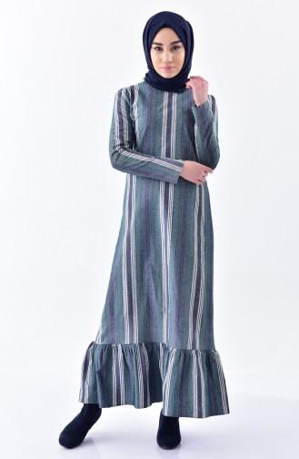 Etek Ucu Büzgülü Çizgili Elbise 7231-01 Yeşil