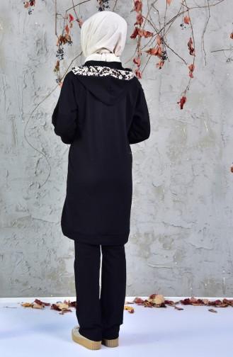 Yılan Desenli Eşofman Takım 1406-01 Siyah