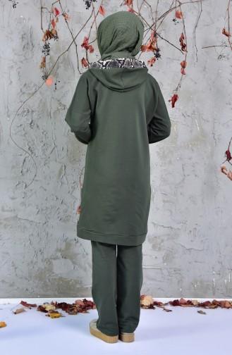 Yılan Desenli Eşofman Takım 1406-04 Haki