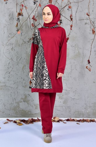 Snake Patterned Tracksuit Suit 1406-05 Claret Red 1406-05