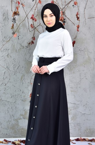 Buttoned Detail Skirt 8106-01 Black 8106-01
