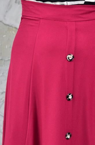 Buttoned Detail Skirt 8106-04 Damson 8106-04