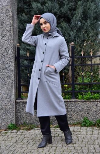 معطف صوف بتصميم موصول بقبعة 2036-07 لون رمادي 2036-07