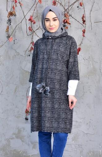 YNS Hooded Winter Poncho 4033C-02 Gray Black 4033C-02