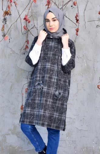 YNS Hooded Winter Poncho 4033D-01 Gray Black 4033D-01
