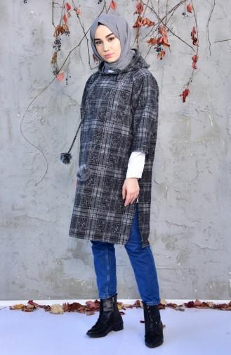 Winter Poncho mit Kapuze 4033D-01 Grau Schwarz 4033D-01