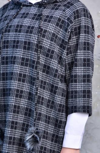YNS Hooded Winter Poncho 4033E-01 Gray Black 4033E-01