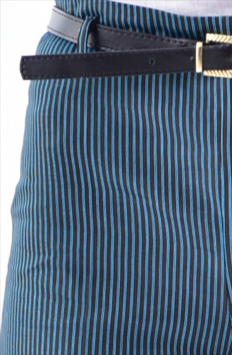 Striped Wide leg Pants 5005-02 Black Turquoise 5005-02