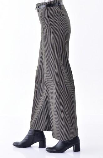 Striped Wide leg Pants 5005-03 Black Mink 5005-03