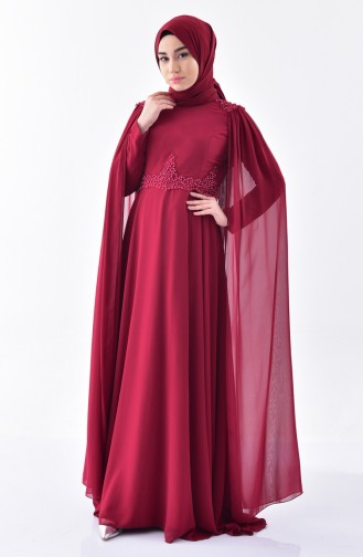 Claret red Islamic Clothing Evening Dress 7084-01