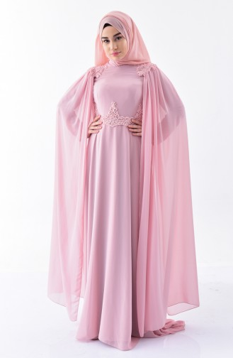 Powder Islamic Clothing Evening Dress 7084-02