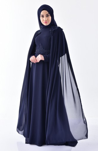 Pearl Chiffon Evening Dress 7084-03 Navy Blue 7084-03