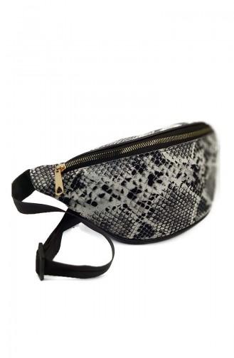 Women s Waist Bag U0001-03 Black White Snake skin coloured 0001-03