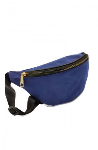 Women Waist Bag U0001-06 Navy Blue Suede 0001-06