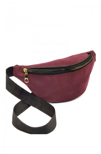 Women´s Waist Bag U0001-07 Claret Red Suede 0001-07