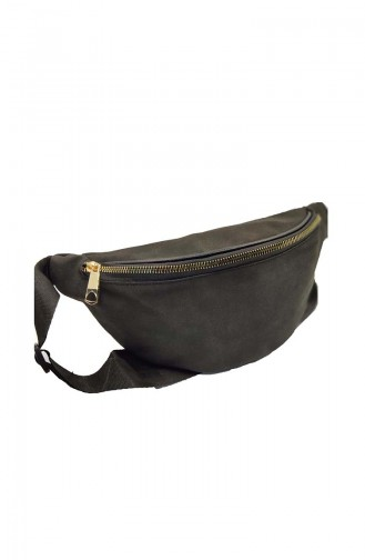 Women s Waist Bag U0001-08 Black Suede 0001-08