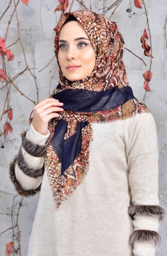 Patterned Cotton Scarf 2144-14 Navy Blue Brown 2148-14