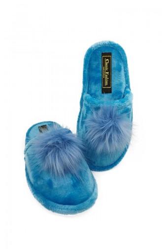 Puffed Women Slippers  TEZ001-04 Blue 001-04