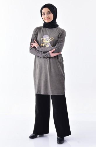 تونيك رياضي بتصميم مُطبع 1045-02 لون رمادي 1045-02