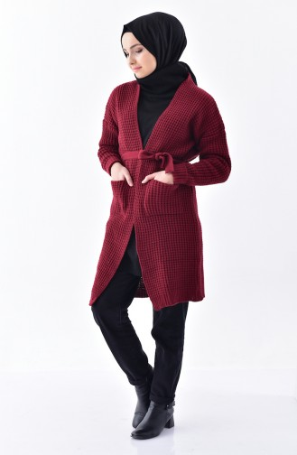 Knitwear Belted Cardigan 1027-06 Claret Red 1027-06