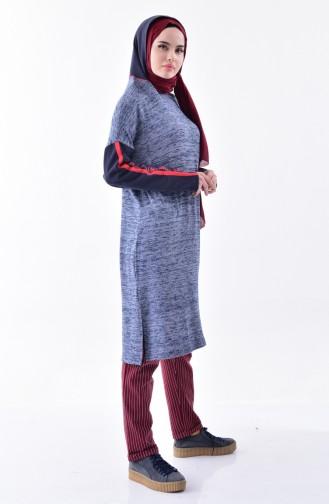 تونيك بتصميم موصول بقبعة 1121-01 لون كحلي 1121-01
