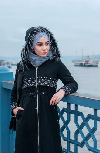 BURUN  Embroidered Fur Coat 71198-01 Black 71198-01