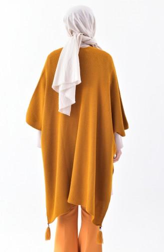 Tassels Knitwear Poncho 0870-01 Mustard 0870-01