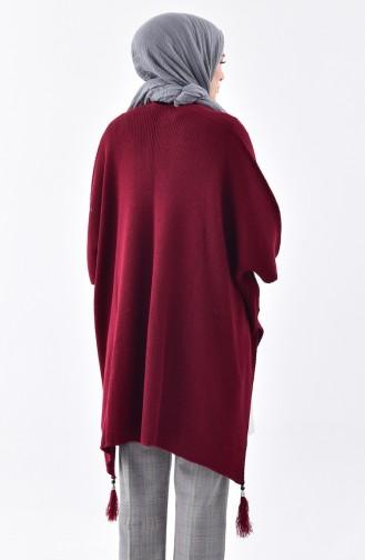 Tassels Knitwear Poncho0870-04 Plum 0870-04