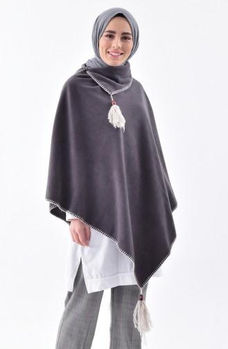 Shawl Collar Fleece Poncho 1001-02 Anthracite 1001-02