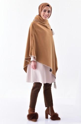 Shawl Collar Fleece Poncho 1001-03 Mustered 1001-03
