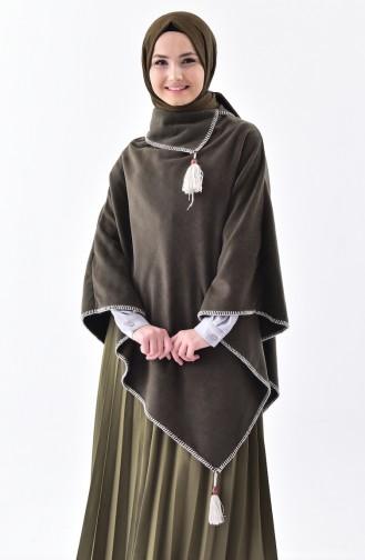 Shawl Collar Fleece Poncho 1001-04 Khaki 1001-04